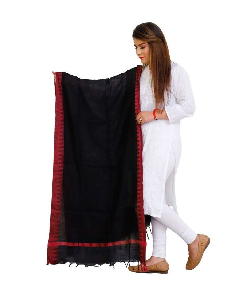 Handloom Cotton Linen Dupatta Black