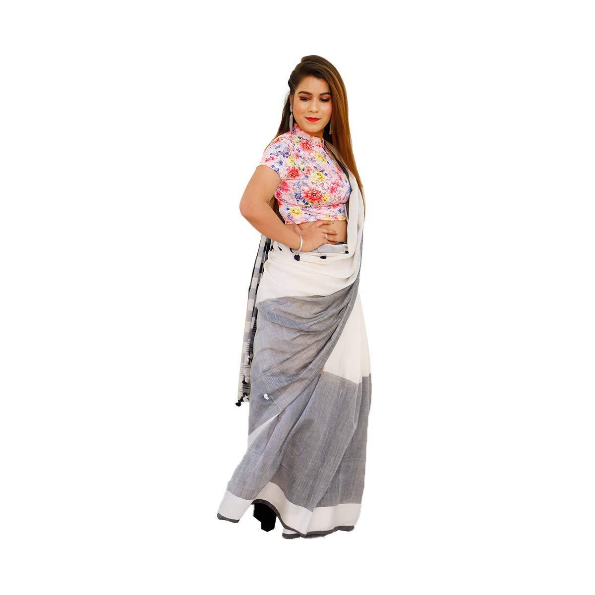 Khadi Cotton Saree White