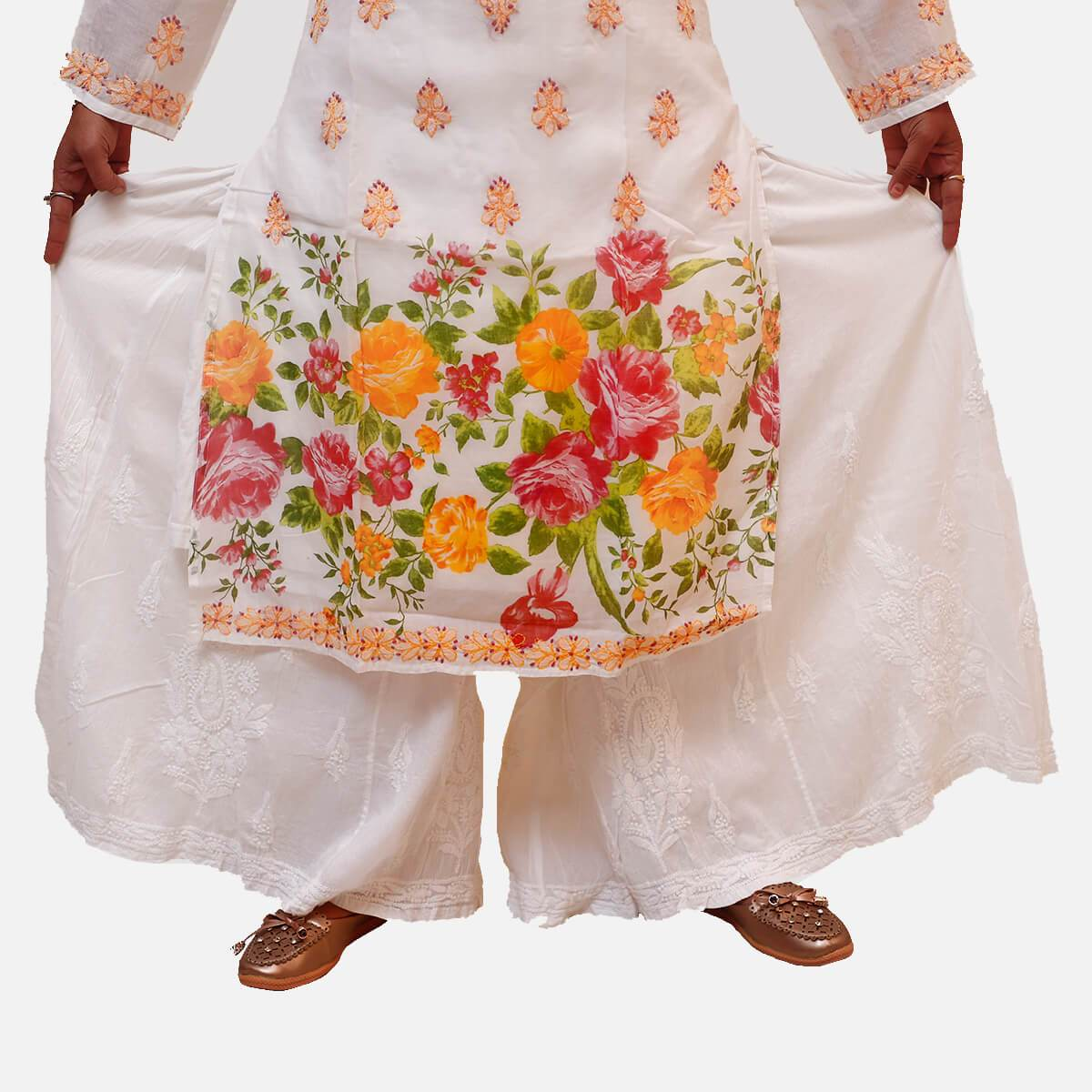 Lucknowi Chikankari Cotton Plazo