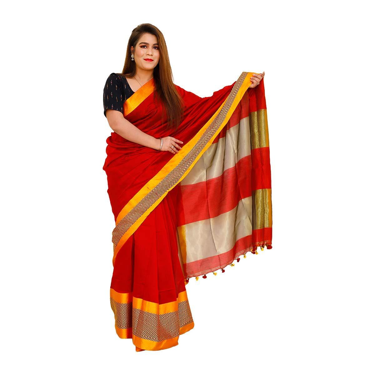 Cotton Silk Saree Red with Yellow Border