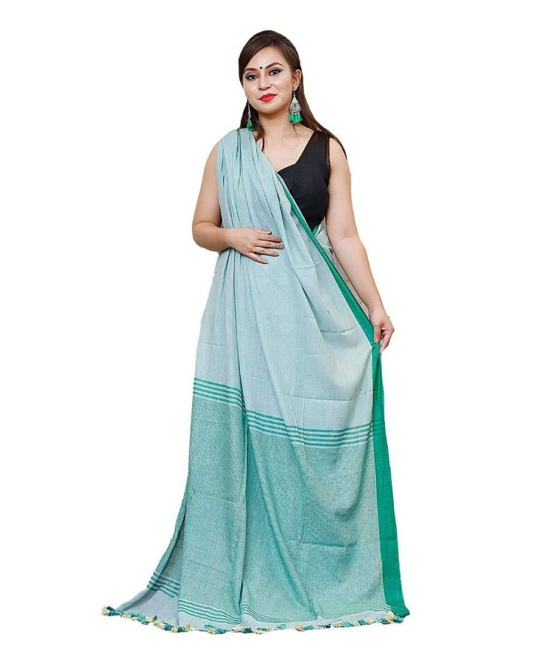 Khadi Cotton Saree Green