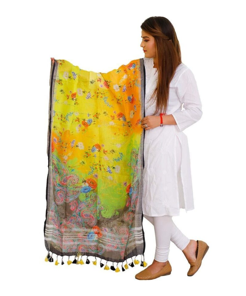 Digital Printed Linen Dupatta Floral Design (Multi Color)