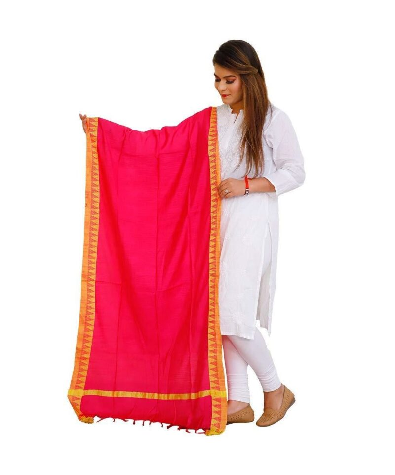 Cotton Linen Dupatta Pink