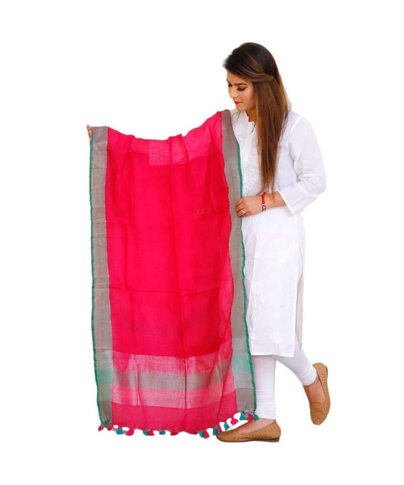 Solid Tissue Linen Dupatta Red with Green Border