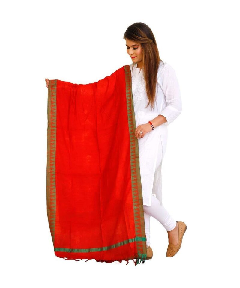 Cotton Linen Dupatta Red with Green Border