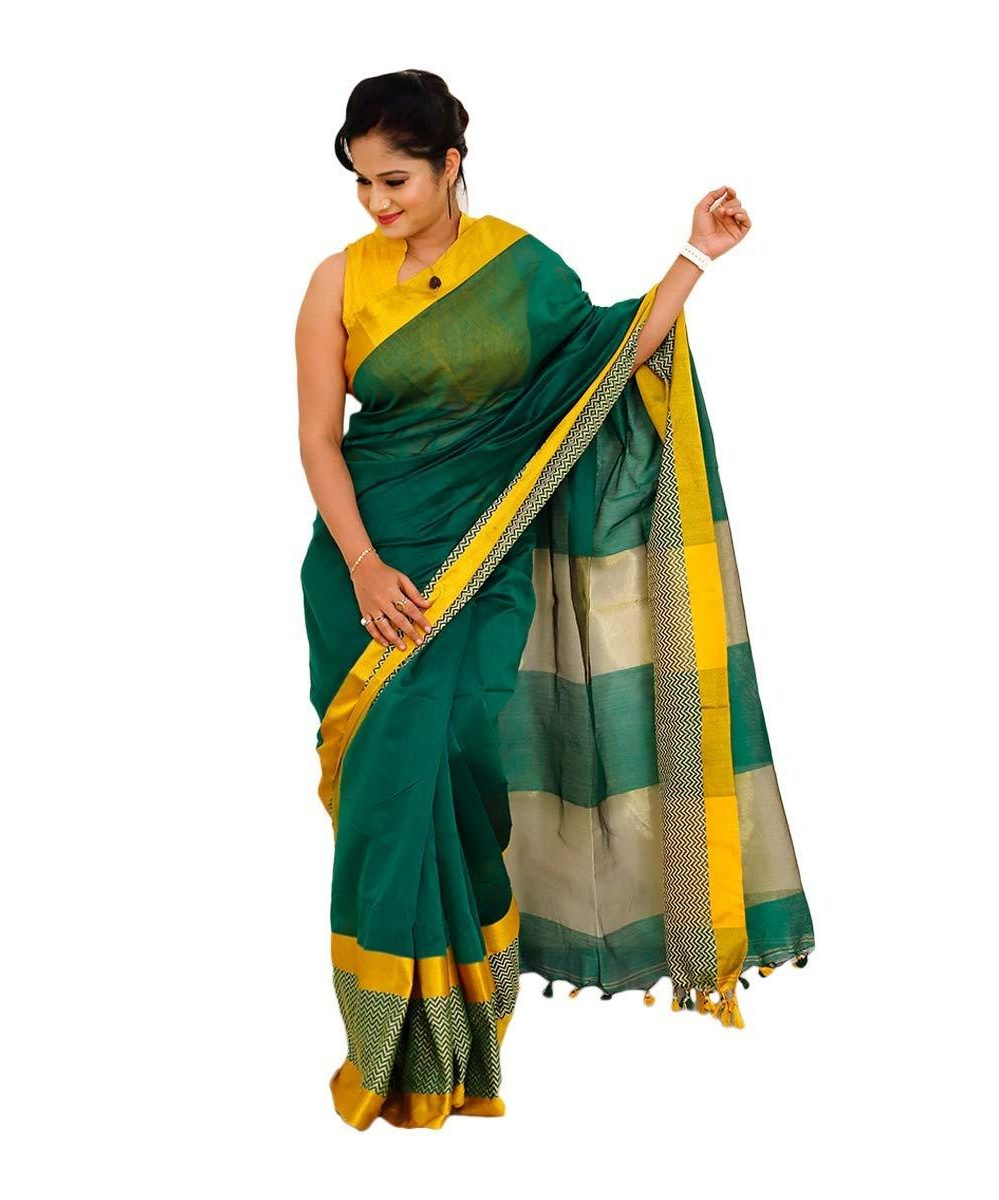 Cotton Silk green saree