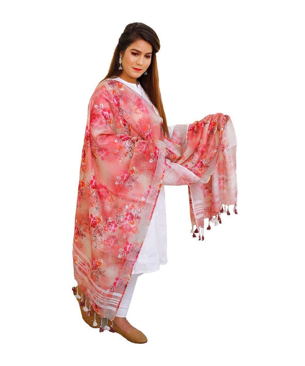 Digital Printed Linen Dupatta Floral Design (Red)