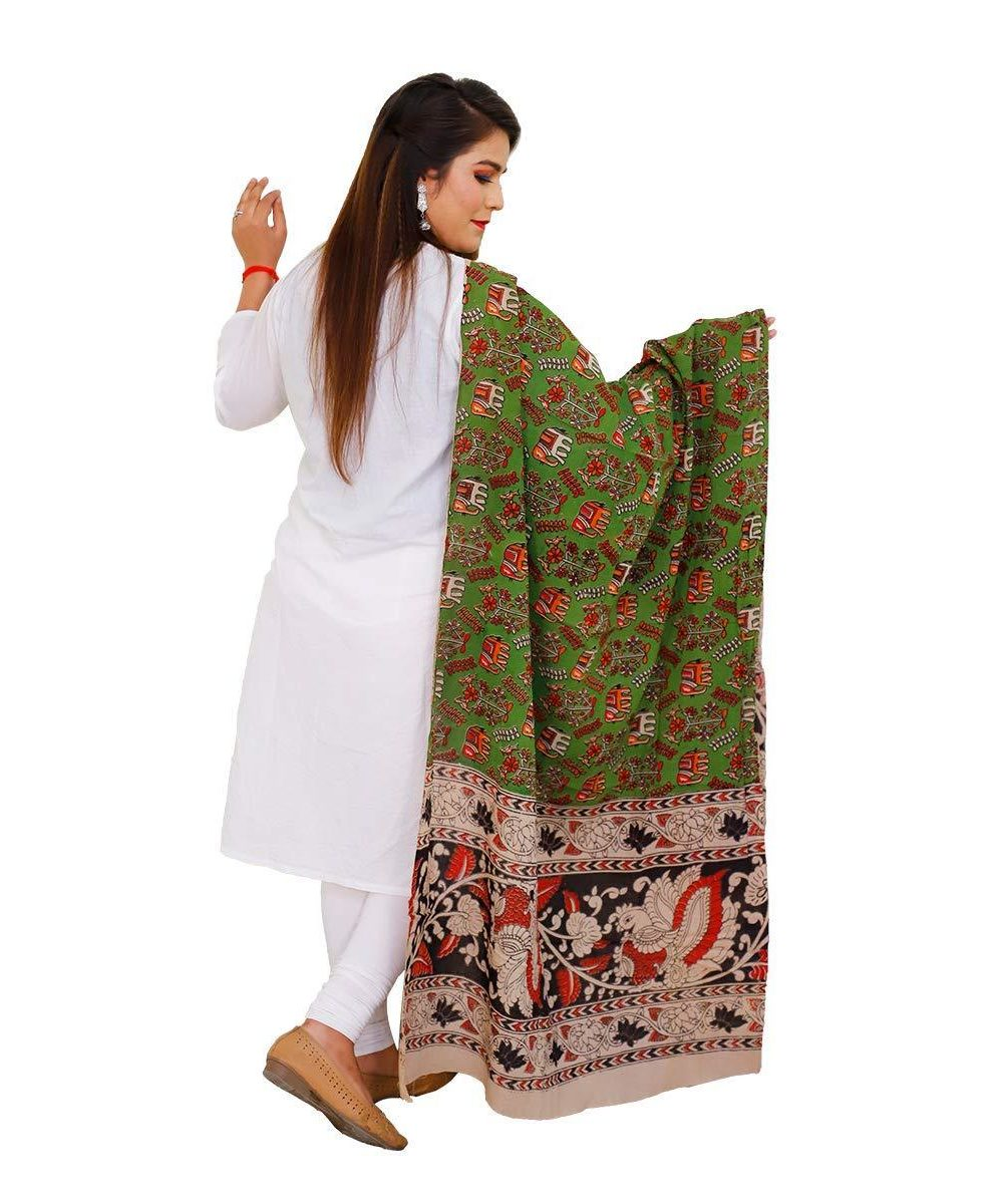 Cotton Kalamkari Dupatta Green