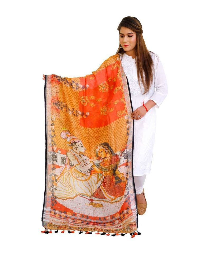 Printed Linen Dupatta Orange Radha Krishna Design