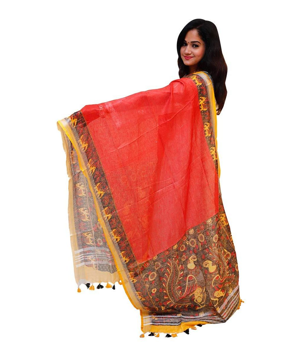 Printed Linen Dupatta Red