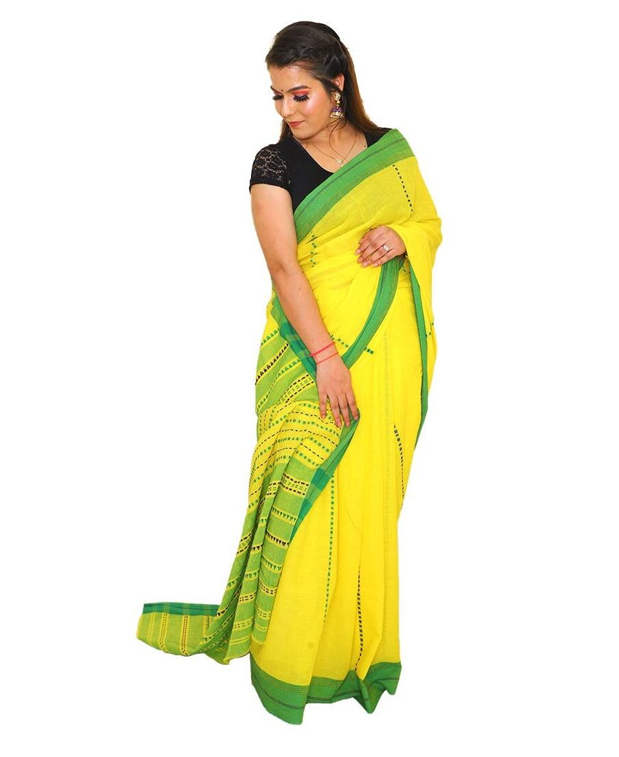 Handloom Cotton Yellow Saree