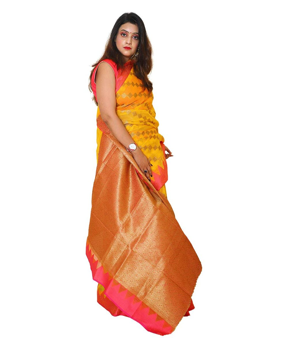 Banarsi Silk Saree Yellow