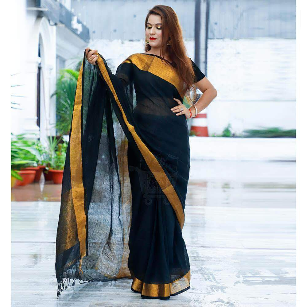 Black Linen Saree With Zari Border