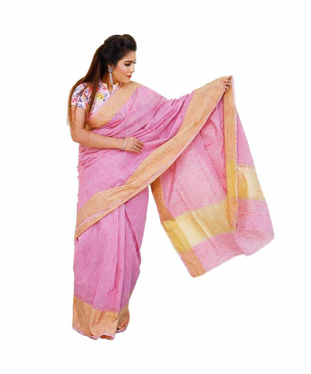 Handloom Cotton Saree Pink