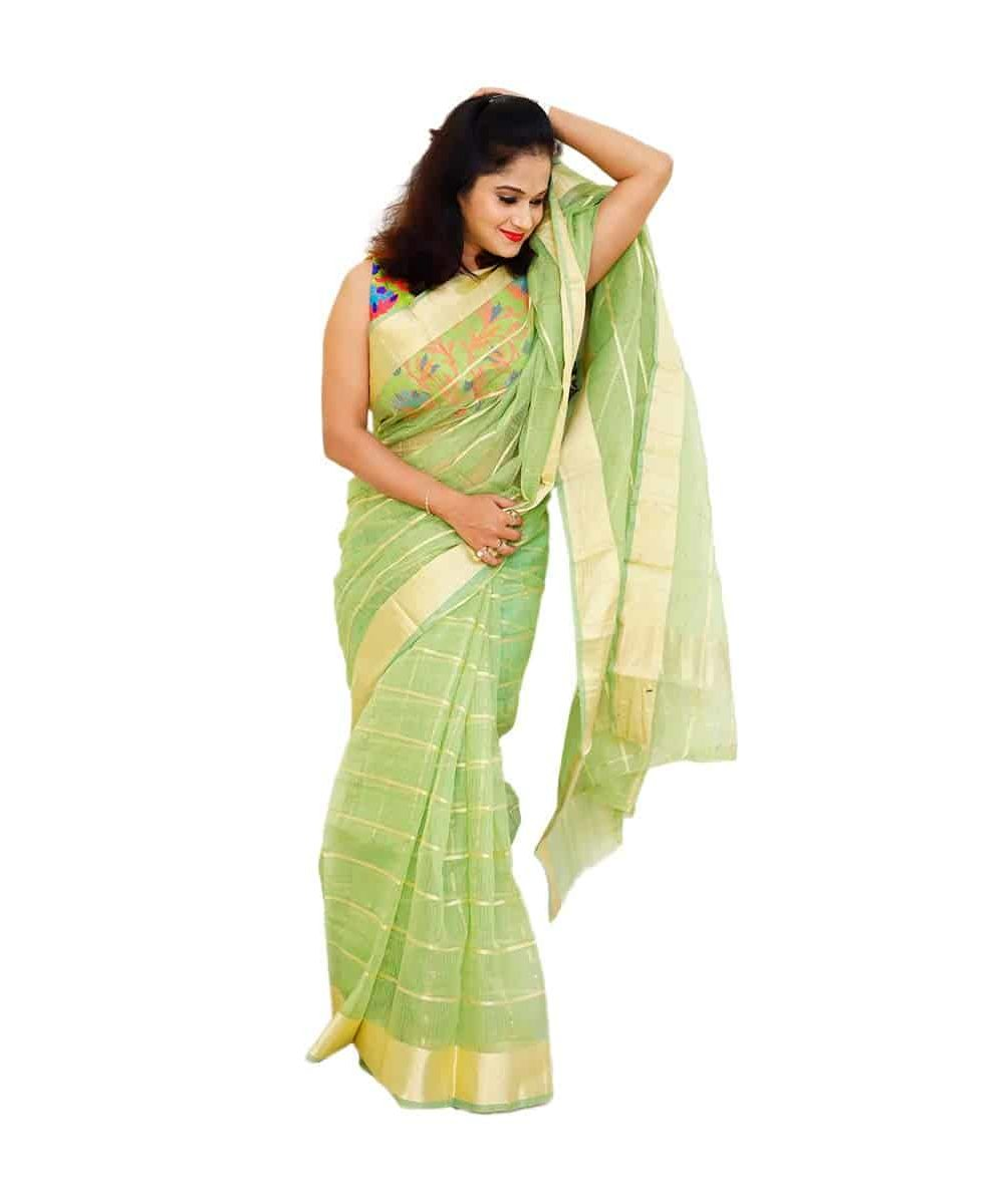 Kota Chanderi Check Saree With Golden Border