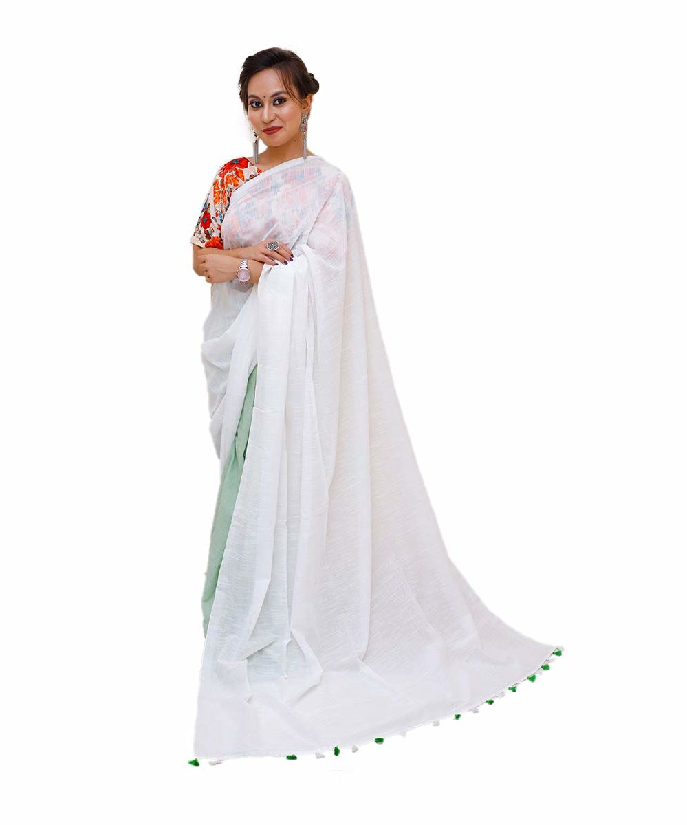 Handloom White Khadi Cotton Saree