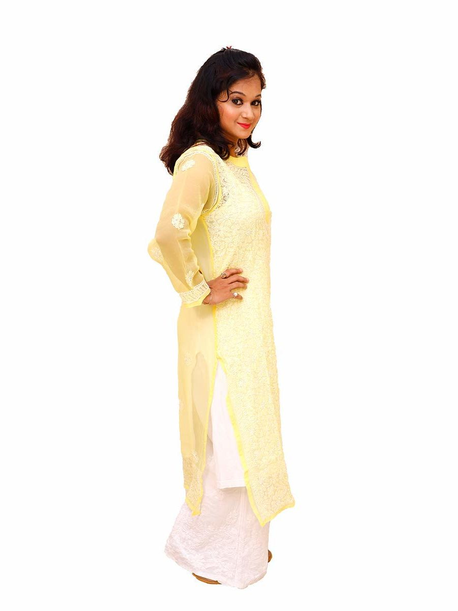 Lucknowi Chikankari Resham Thread Work Yellow Kurti
