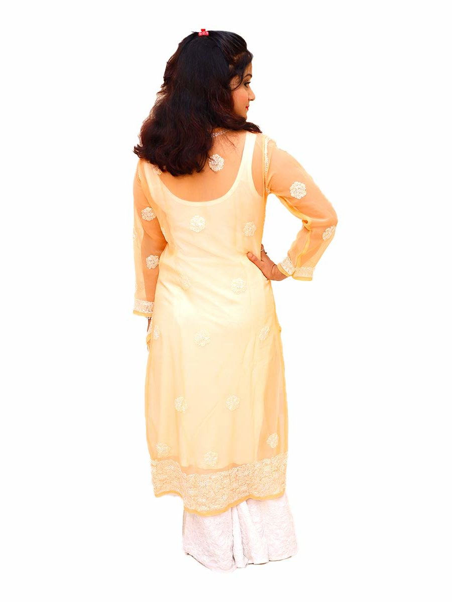 Resham Thread Work Lucknowi Chikankari Yellow Kurti