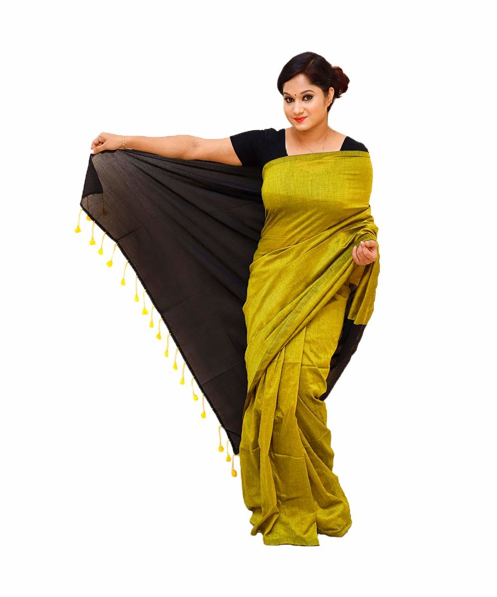 Handloom Khadi Cotton Yellow Saree