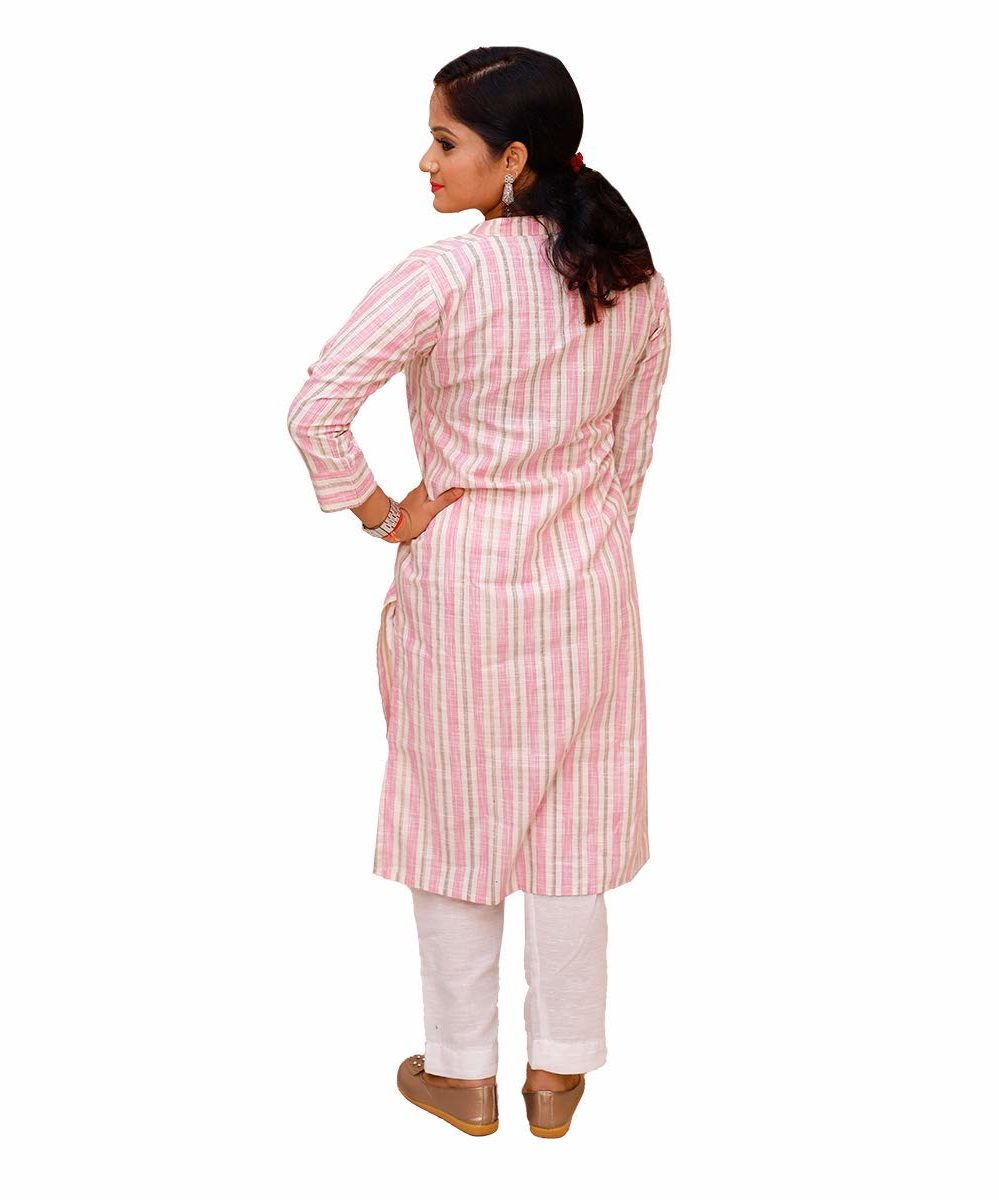 Handloom Khadi Cotton Striped Kurti Pink