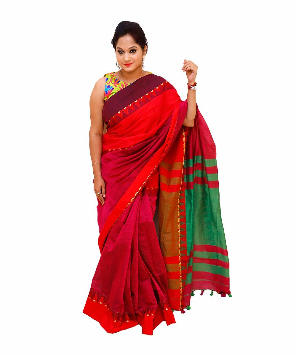 Handloom Khadi Cotton Red Saree with Temple Design