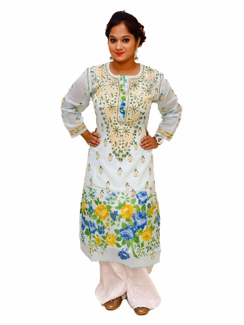Beautiful Lucknowi Chikankari Cotton Flower Printed Kurti