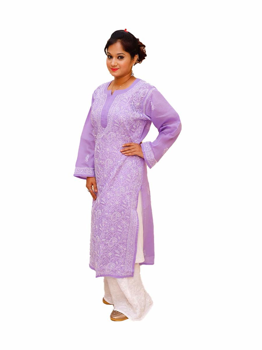 Lucknowi Chikankari Cotton Blend Purple Kurti