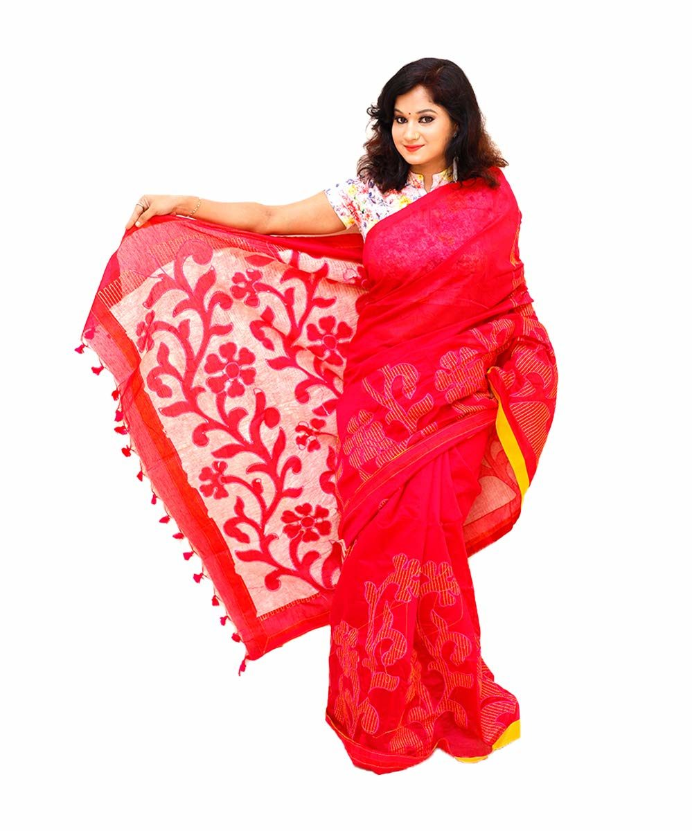 Handloom Kantha Stitched Embroidery Saree
