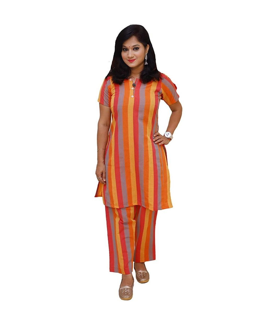 Handloom Khadi Cotton Striped Kurti Multicolor
