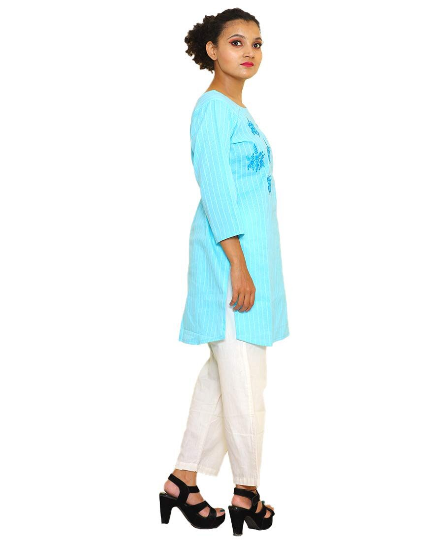 Plain Cotton Kurti Sky Blue With Embroidery Neck