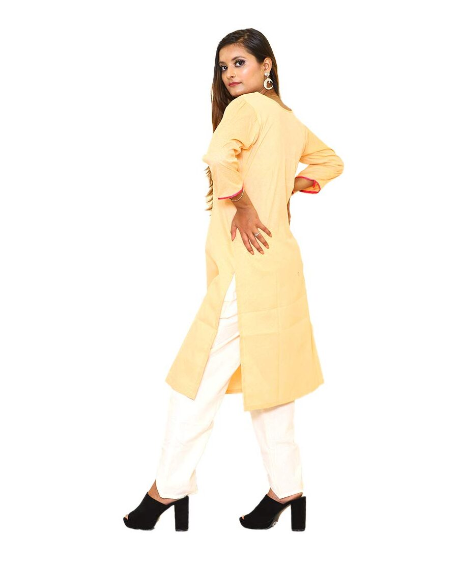 Plain Cotton Kurti Orange With Embroidery Neck