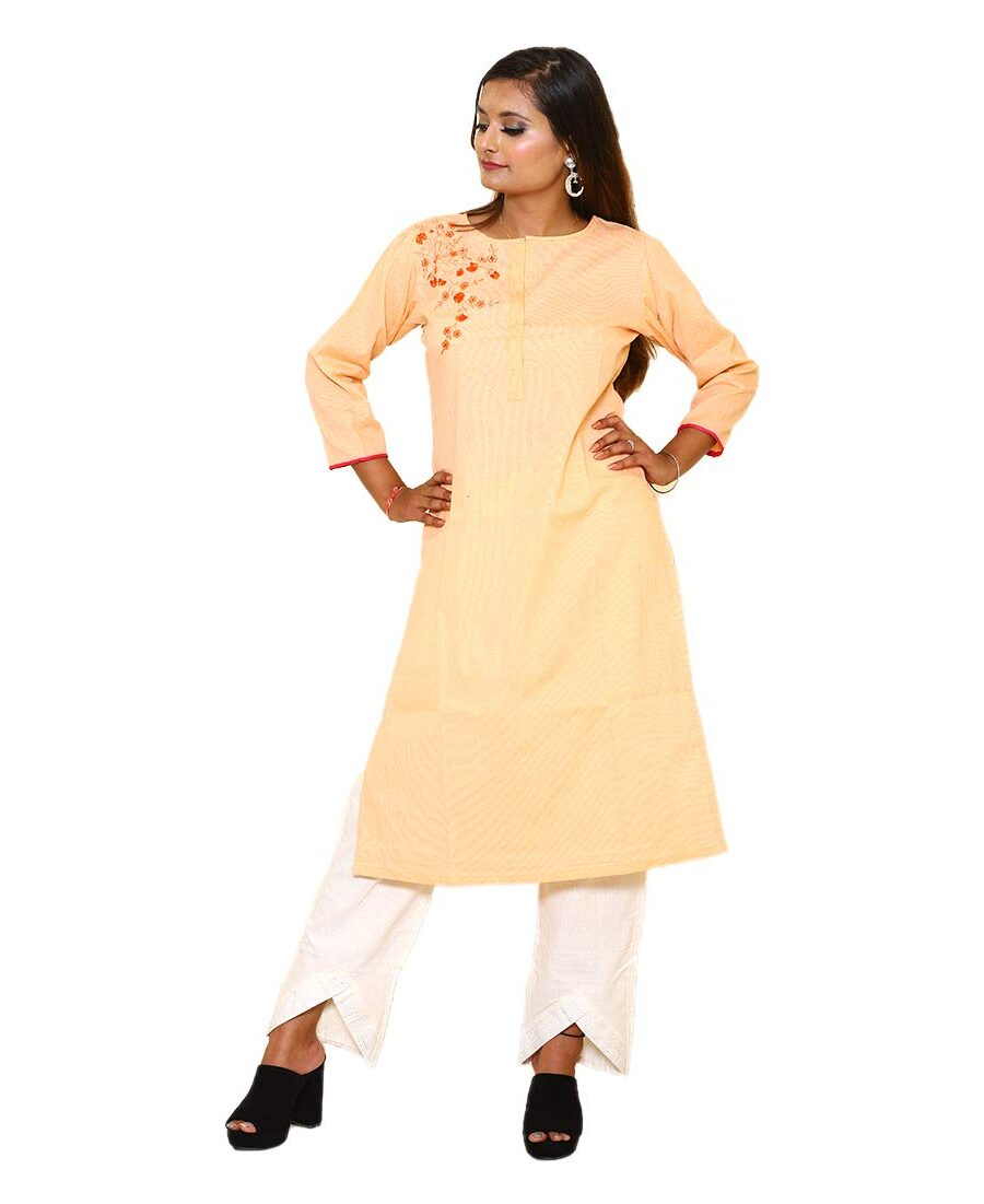 Cotton Kurti Orange With Embroidery Neck
