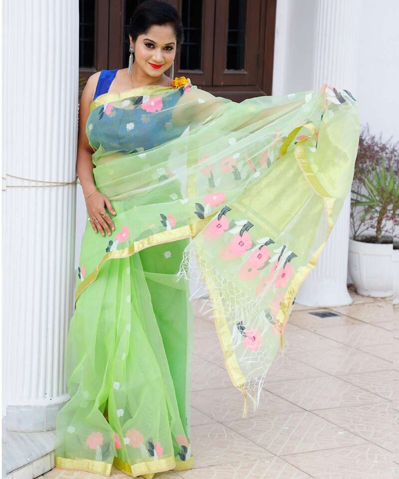 Resham Muslin Green Saree