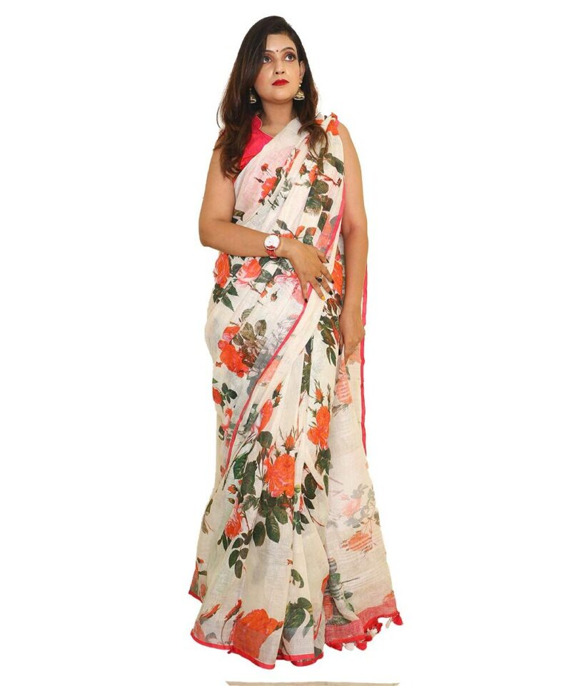 Digital Floral Printed Handloom Linen Saree
