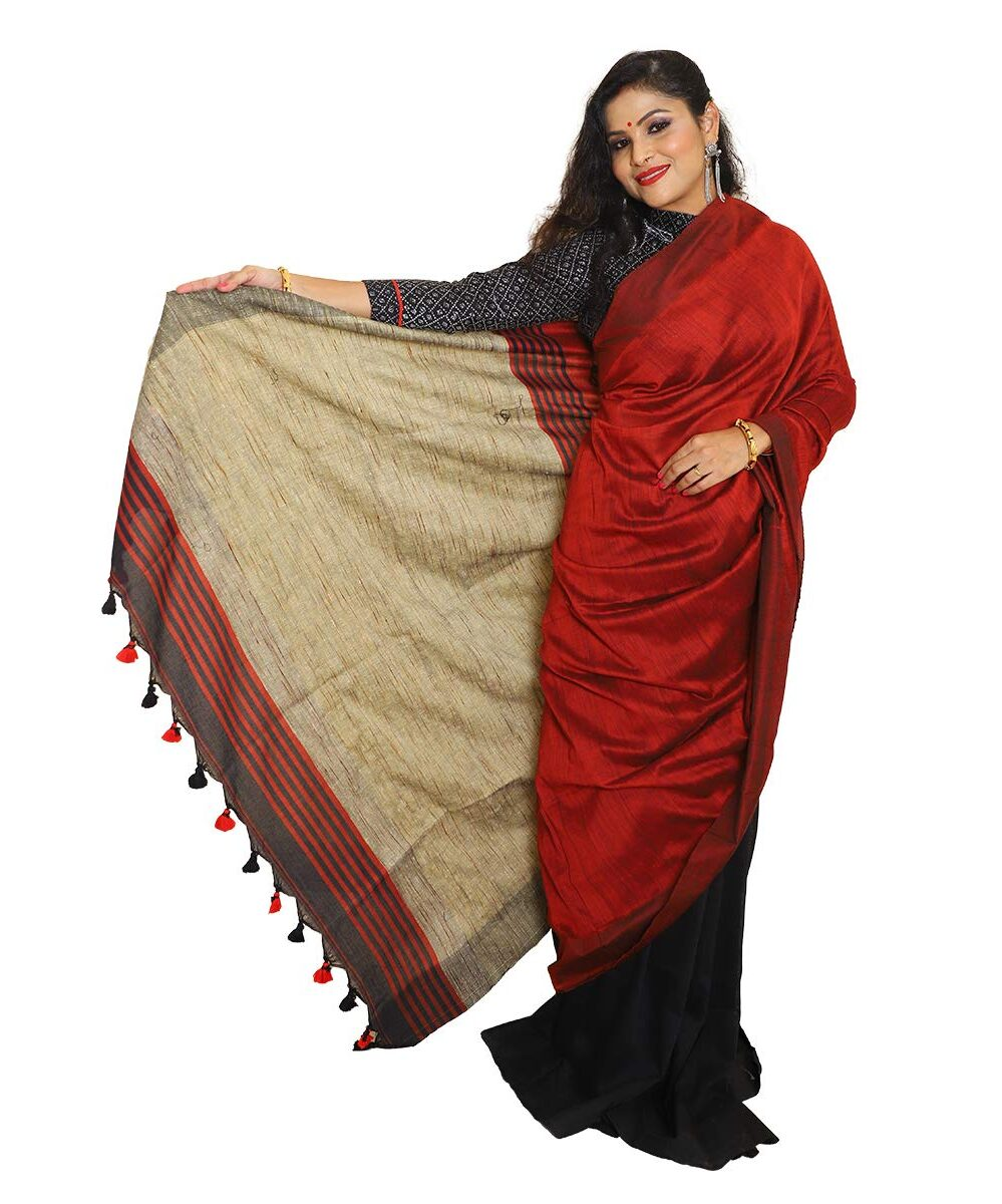 Khadi Cotton Maroon Saree with Gicha Pallu