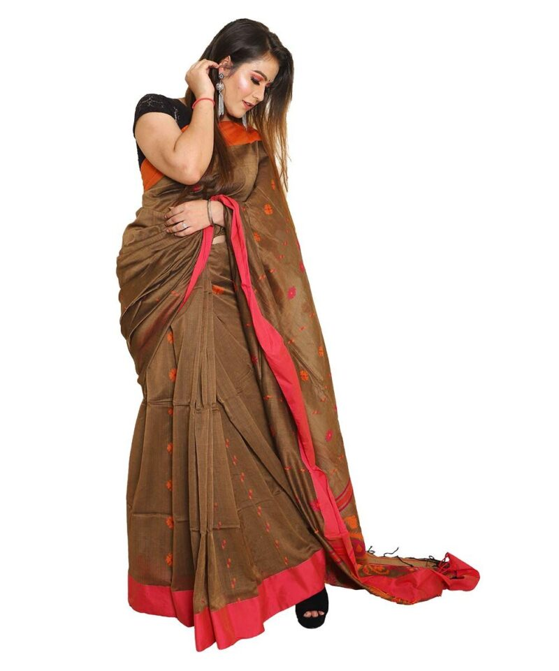 Khadi Cotton Jamdani Handloom Brown Saree