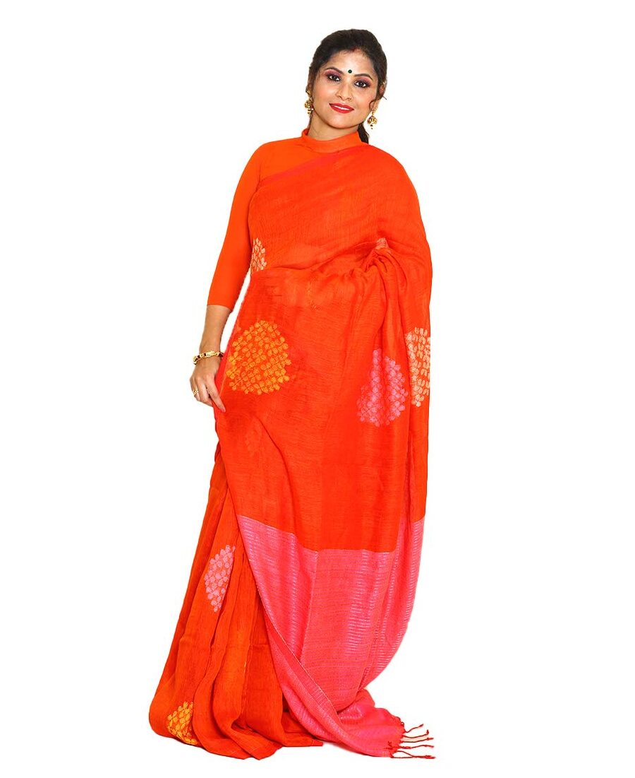 Pure Organic Linen Handloom Red Saree