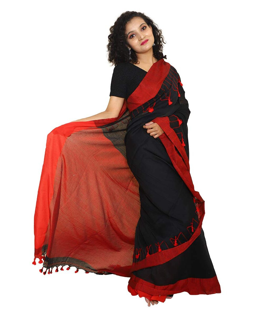 Khadi Cotton Handloom Black Saree