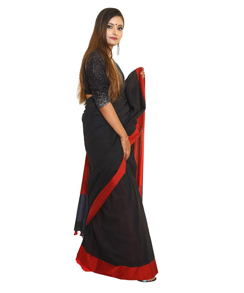 Khadi Cotton Handloom Glossy Black Saree