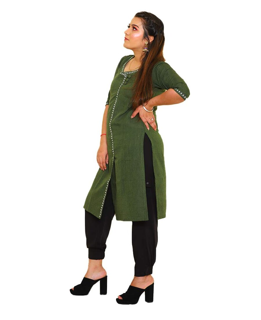 Handloom Khadi Cotton Kurti Dark Green