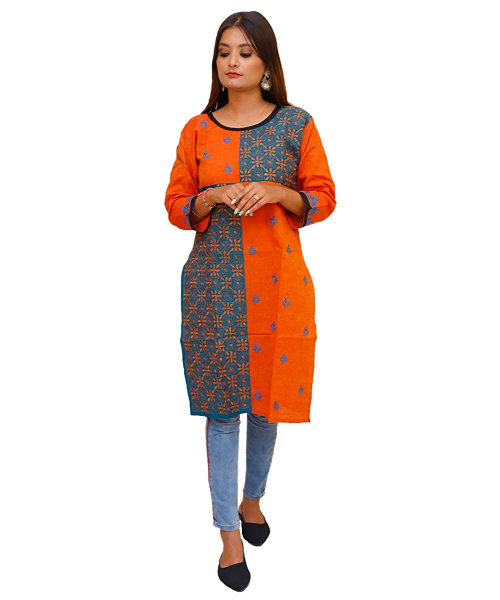 Kantha Stitch Embroidered Orange Kurti