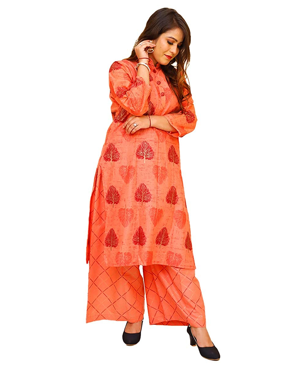 Golden Printed Cotton Kurti with Palazo