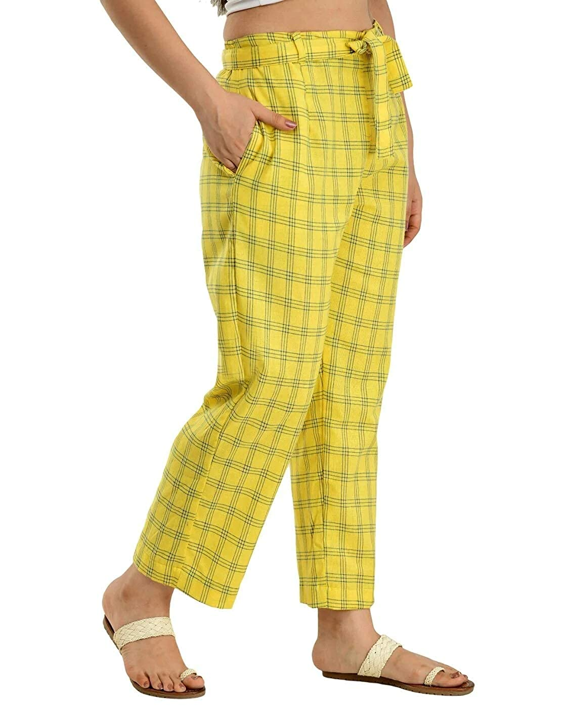 Yellow Cotton Checks Women Pants with Loose Belt