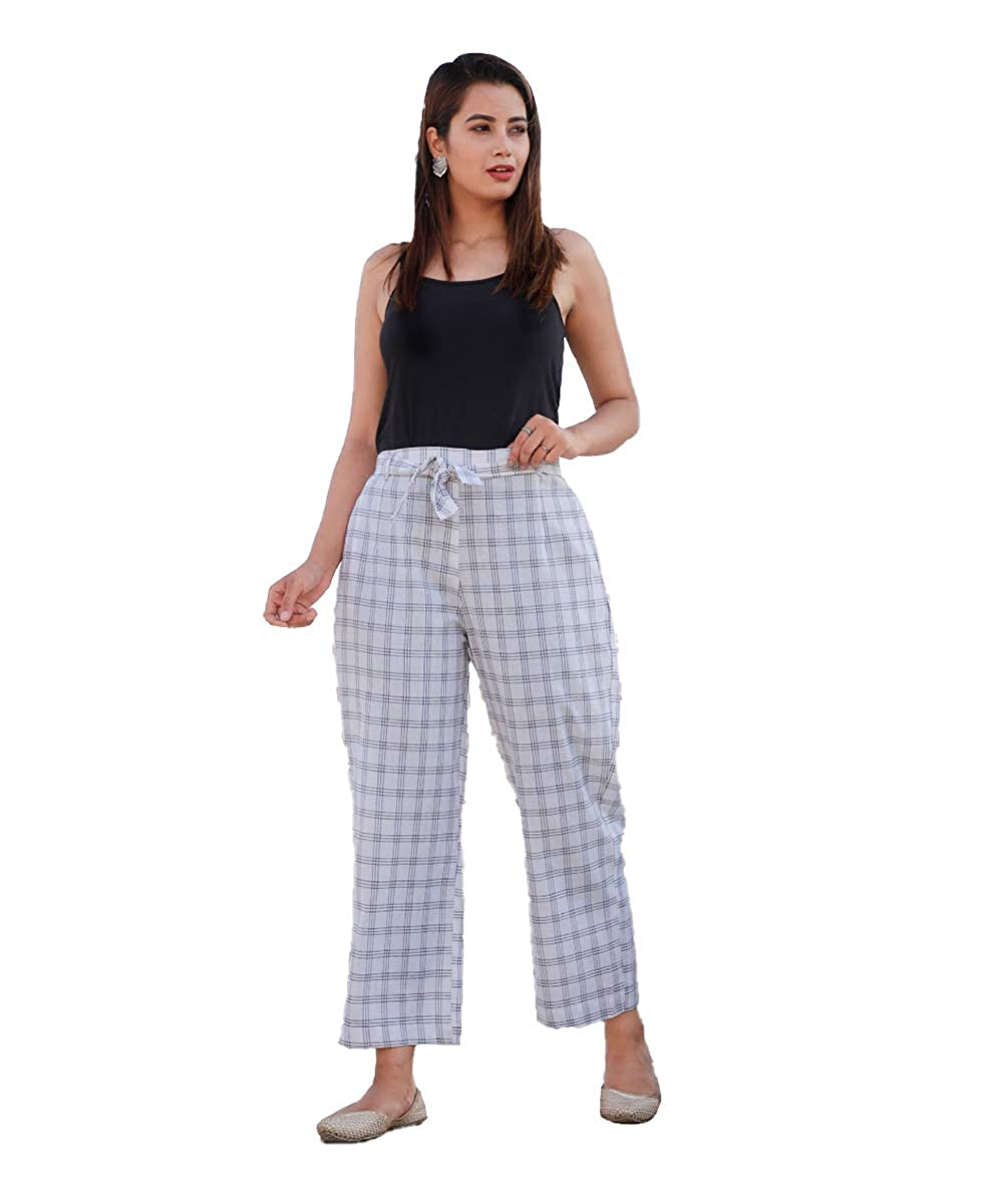 White Cotton Checks Women Pants with Loose Belt