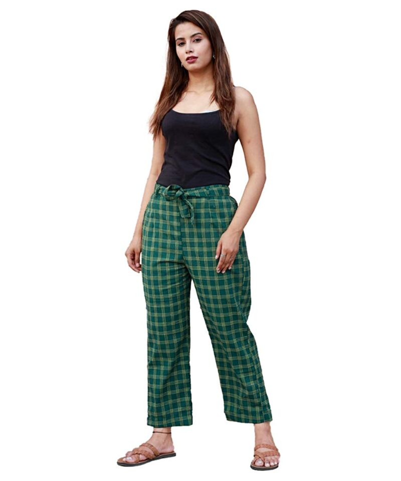 Green Cotton Checks Pants with Loose Belt