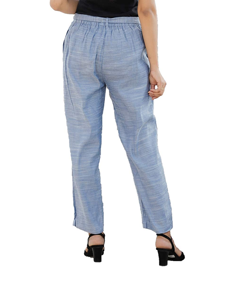 Denim Linen Silk Women Pant with Loose Belt