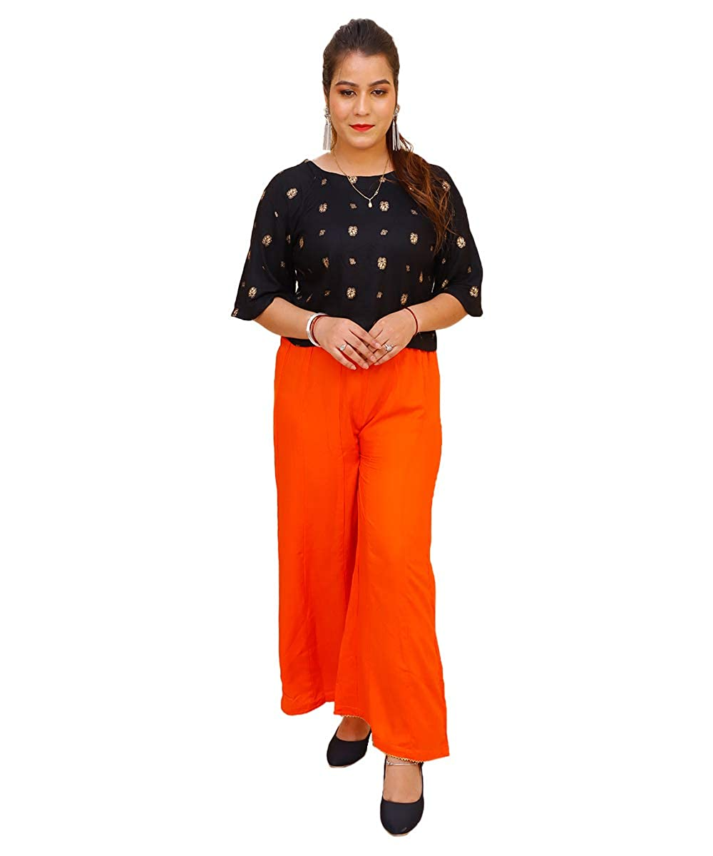 Regular Fit Women Orange Rayon Plazzo