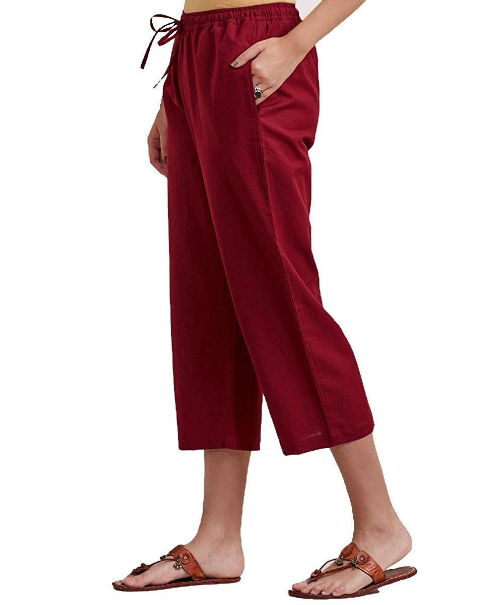 Red Cotton Solid Women Culottes