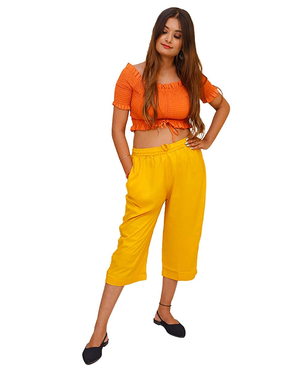 Yellow Cotton Solid Women Culottes