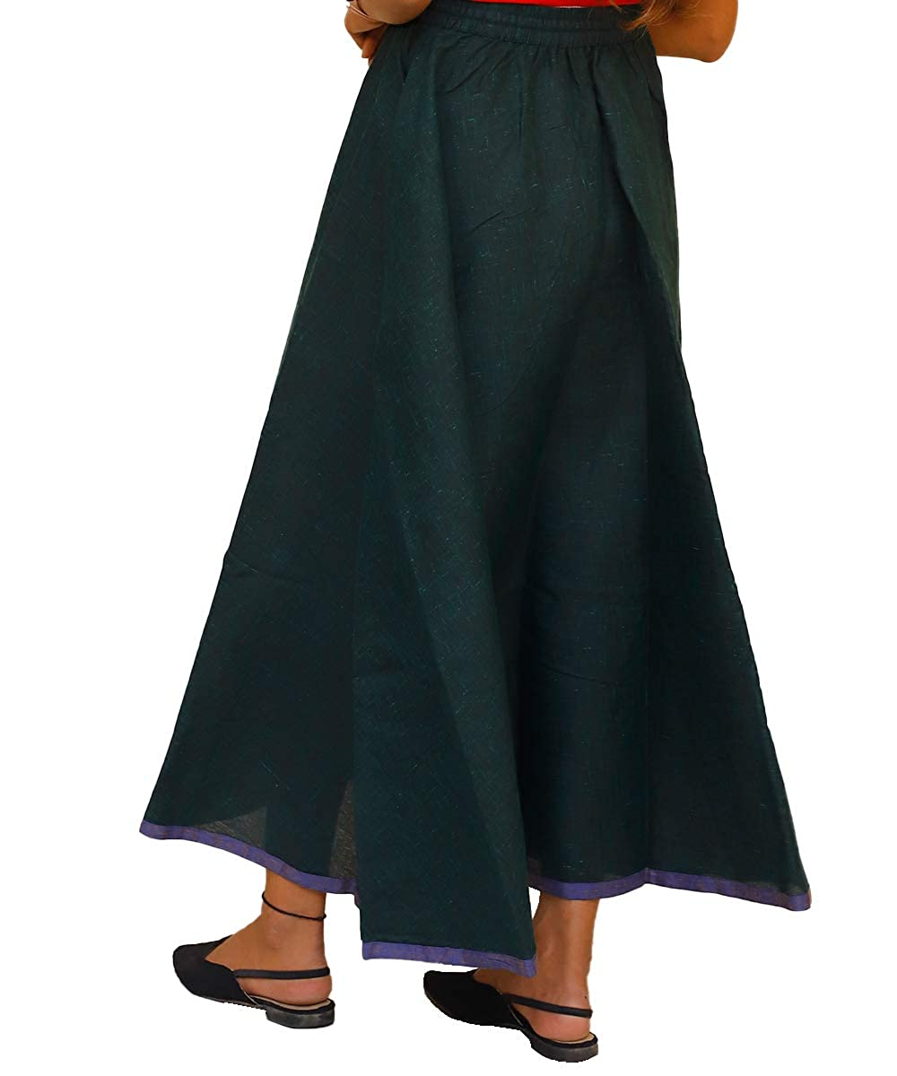 Women Linen Calf Length Skirt Dark Green